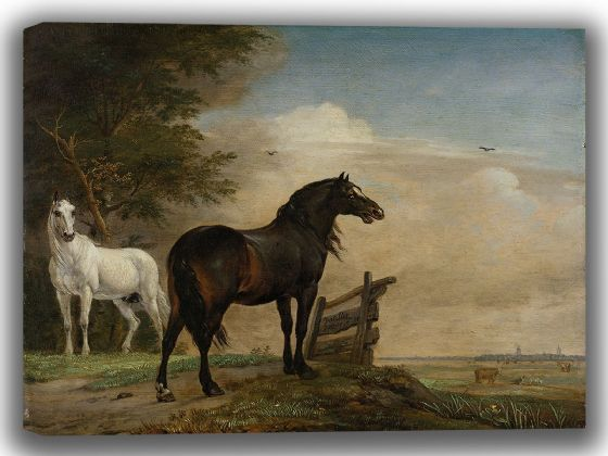 Potter, Paulus: Two Horses in a Meadow Near a Gate. Fine Art Canvas. Sizes: A4/A3/A2/A1 (004028)